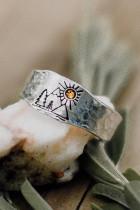 Mountain Tree Sunset Tekojalokivi Vintage Ring