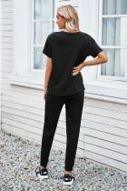 Schwarzes, gemütliches Baumwoll-T-Shirt-Hosen-Set