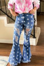 Flare Jeans mit rauem Saum in Distressed-Optik mit Sternenprint