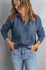 Maglione lavorato a maglia con collo a zip blu