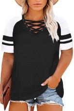 Schwarzes gekreuztes Raglanärmel-T-Shirt mit V-Ausschnitt und Übergröße