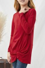 Punainen kierre solmu yksityiskohta pitkähihainen tytön top