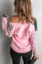 Cardigan rosa con bottoni con stampa animalier