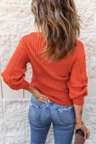 Maglione strutturato con maniche a lanterna con scollo a V e scollo a V arancione