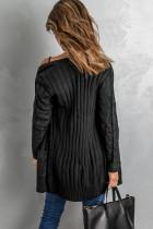Cardigan in maglia nera con tasca con bottoni
