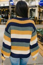 Blau gestreifter Pullover mit Puffärmeln