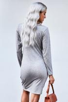 Abito t-shirt Twist in jersey grigio