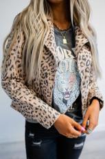 Jacke mit Reißverschluss und Reverskragen im Leopardenmuster