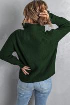 グリーンジップネックニットセーター