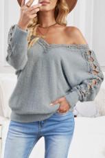 Maglione pullover con scollo a V con impunture in pizzo grigio