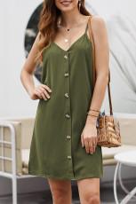 Vestido de deslizamento verde abotoado