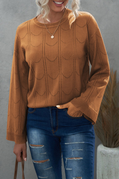 Maglione lavorato a maglia con maniche svasate color kaki