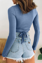 Sininen ontto Criss Cross Slim-fit -kasvitoppi
