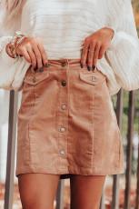 Apricot High Waist Minirock aus Cord mit Knöpfen