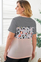 Stripes Leopard Colorblock Plus -kokoinen lyhythihainen paita