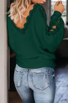 Vihreä pitsi -silmukointi V -aukkoinen pusero