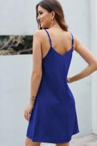 Vestido de deslizamento abotoado azul