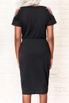 ブラックコールドショルダーチュニックフロントスリットドレス