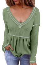 Top in maglia patchwork a righe con scollo a V
