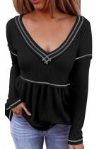 Musta V -kaula -aukkoinen pitkähihainen värilohkainen vohveli Babydoll -pusero
