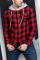 赤い格子縞のプリントメンズフード付きジャケット