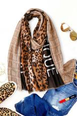 Khaki -leopardiruudullinen huivi