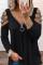 Einfarbiges Pailletten-Oberteil mit kalten Schultern und langen Ärmeln
