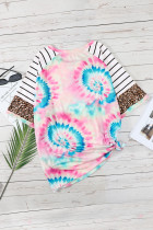 Solmittava-painettu leopardiraidallinen raglanhiha Plus-kokoinen t-paita