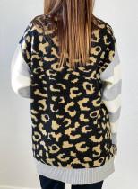 Cardigan con stampa leopardata con maniche a righe