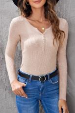 Maglietta a maniche lunghe Henley donna albicocca