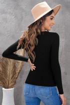 Maglietta a maniche lunghe Henley da donna nera