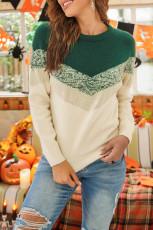 Maglione a blocchi di colore con motivo a righe verdi a V