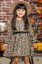 Girls Hi-lo Crochet Trim Rüschenärmel Leopardenkleid