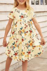 Keltainen kukkainen tyttöjen T-paita Midi-mekko
