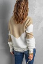 Khaki Colorblock V -hals uformell genser