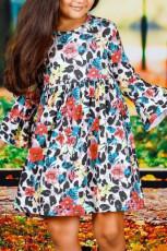 Tyttöjen kukka leopardi pitkä röyhelöinen hiha mekko