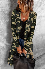 Grüne lange Strickjacke mit Camouflage-Print