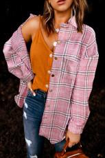 Vaaleanpunainen ruudullinen kuvio napitettu paita takki