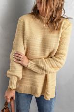 Khaki ensfarget stativkrage med teksturert genser