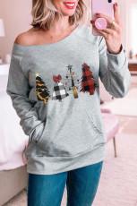 チェック柄のクリスマスツリーグレーのスウェットシャツ