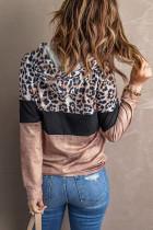 Felpa con cappuccio colorblock color leopardo cravatta