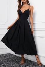 Maxi vestito nero con spalline incrociate senza schienale
