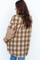 ブラウンのオーバーサイズチェック柄フランネルジャケット