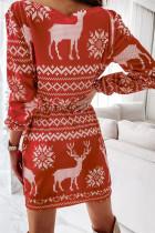 Mini abito a maniche lunghe con lacci e stampa motivo natalizio