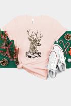 Rosa jule Leopard elg brevtrøye