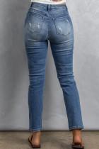 Jeans mit mittelhohem Bund im Used-Look in Himmelblau-Waschung