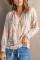 Weiße Bluse mit Kordelzug und V-Ausschnitt, bedruckt mit Bibshop-Ärmeln, weiß