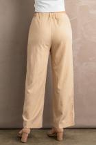 Khakifarbene, geknitterte Hose mit weitem Bein und Kordelzug