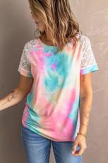 브라이트 타이 다이 크로 셰 라글란 티셔츠