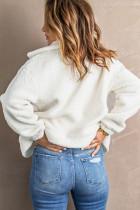 Beige karierte Patchwork-Jacke aus Fleece mit Umlegekragen